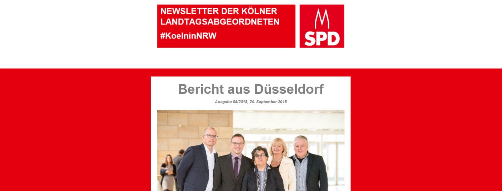 Köln in NRW – Newsletter der Kölner Abgeordneten im Landtag 04/2018