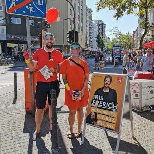Henning Meier und Iris Frerich beim Wahlkampf 2020